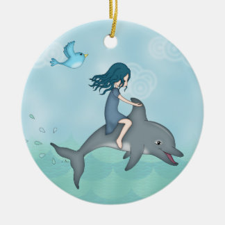 Whimsical Young Girl Riding upon a Dolphin Ceramic Ornament