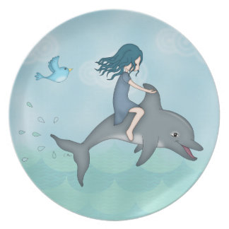 Whimsical Young Girl Riding upon a Dolphin Plate