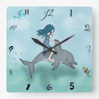 Whimsical Young Girl Riding upon a Dolphin Square Wall Clock