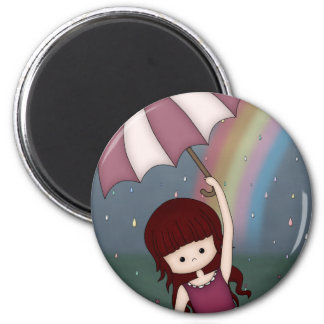 Whimsical Young Girl Standing in Colorful Rain 6 Cm Round Magnet