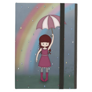 Whimsical Young Girl Standing in Colorful Rain Cover For iPad Air