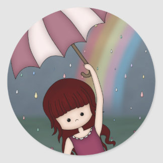 Whimsical Young Girl Standing in Colorful Rain Sticker