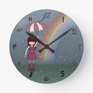 Whimsical Young Girl Standing in Colorful Rain Wallclocks