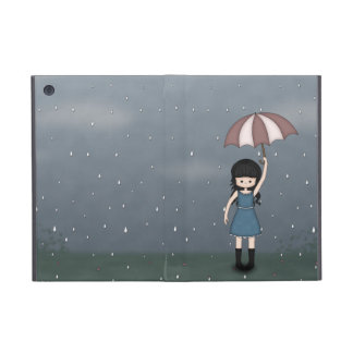 Whimsical Young Girl Standing in the Rain iPad Mini Cases
