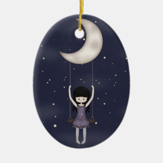 Whimsical Young Girl Swinging on the Moon Ceramic Ornament