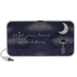Whimsical Young Girl Swinging on the Moon Speaker System