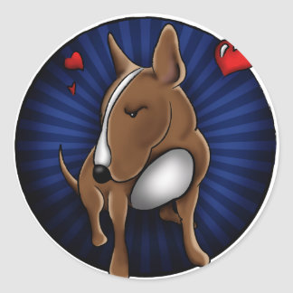 Whimsically Cute English Bull Terrier Illustration Round Sticker