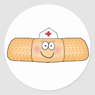 Whimsicla Band Aid Bandage with Nurse Hat Cute Classic Round Sticker
