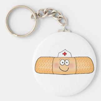 Whimsicla Band Aid Bandage with Nurse Hat Cute Basic Round Button Key Ring
