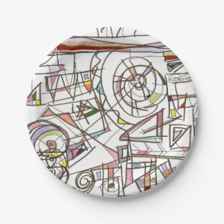 Whimsy-Abstract Geometric Doodle Art Paper Plate