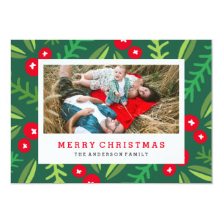 Whimsy Berries in Green Holiday Photo Card