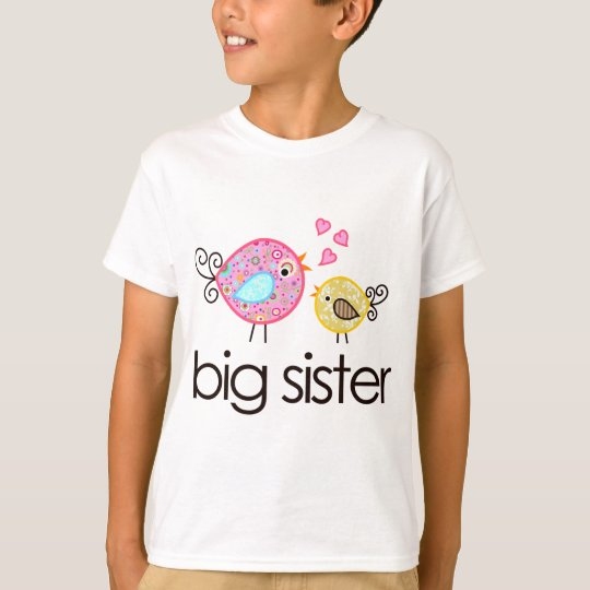 Whimsy birds big sister t shirt announcement for Big sister birth announcement shirts