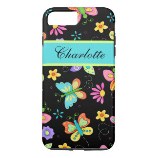 Whimsy Butterflies Black Name Personalized iPhone 7 Plus Case