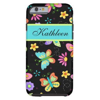 Whimsy Butterflies on Black Custom Name Tough iPhone 6 Case
