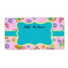 Whimsy Butterflies Pink Turquoise Name Tag