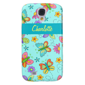Whimsy Butterflies Turquoise Blue Name Personal Samsung Galaxy S4 Case