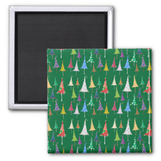 Whimsy Christmas Trees on Green Background Square Magnet
