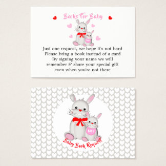 Whimsy Cute Bunny Rabbits Baby Shower Book Request Business Card