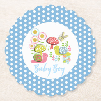 Whimsy Fairy-tale Spring Garden Baby Boy Shower Paper Coaster
