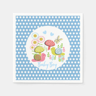Whimsy Fairy-tale Spring Garden Baby Boy Shower Paper Serviettes