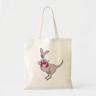 Whimsy grey kangaroo with a pouch pink hearts bag