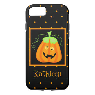 Whimsy Halloween Pumpkin Black Name Personalised iPhone 7 Case