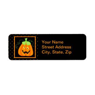 Whimsy Halloween Pumpkin on Black Return Address Label