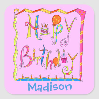 Whimsy Happy Birthday Name Personalised Pink Square Sticker