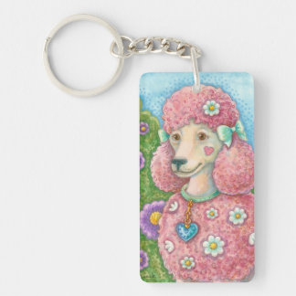 Whimsy PINK FRENCH POODLE Dog KEYCHAIN Customize