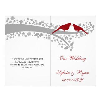 whimsy red lovebirds  folded Wedding program Flyer