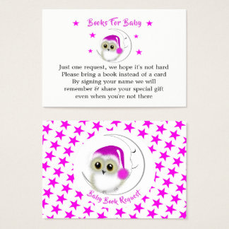 Whimsy Super Cute Snowy Owl Baby Book Request Business Card