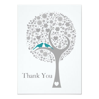 whimsy tree blue lovebirds mod wedding Thank You 5x7 Paper Invitation Card