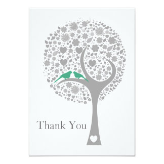 "whimsy tree mint lovebirds mod wedding Thank You 5"" X 7"" Invitation Card"