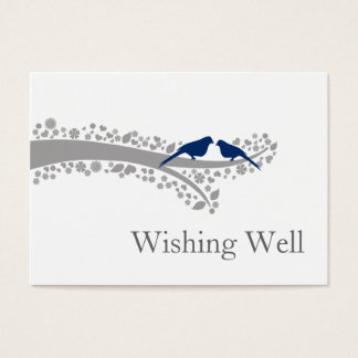 whimsy tree navy blue lovebirds wishing well cards
