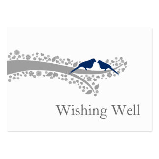 whimsy tree navy blue lovebirds wishing well cards pack of chubby business cards
