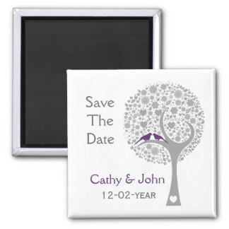 whimsy tree purple lovebirds mod save the date square magnet