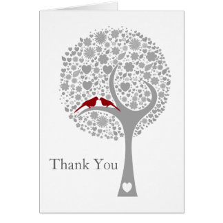 whimsy tree red lovebirds mod wedding Thank You Greeting Card