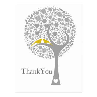 whimsy tree yellow lovebirds mod wedding Thank You Postcard
