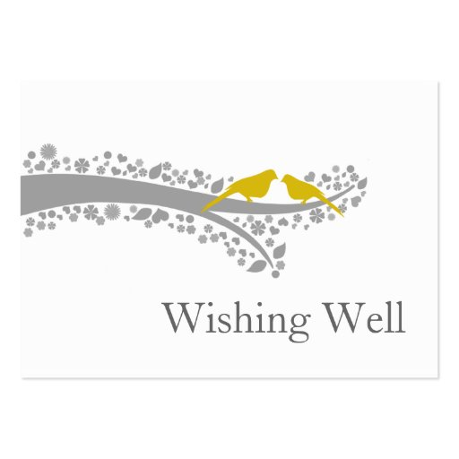 whimsy tree yellow lovebirds wishing well cards business card templates