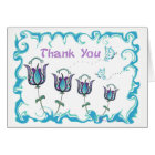 Whimsy Tulips Thank You Card