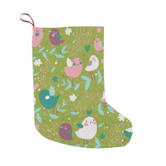 Whimsy Tweety Birds on Vines Small Christmas Stocking