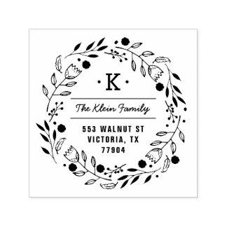 Whimsy Wreath Monogram Address Stamp