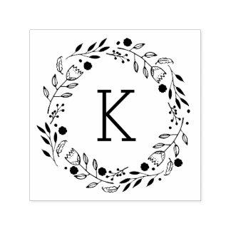 Whimsy Wreath Monogram Self-Inking Stamp