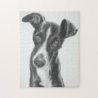 Whippet Black with White Blaze Jigsaw Puzzle