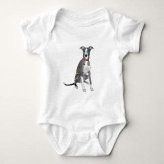 Whippet (brindle/white) baby bodysuit