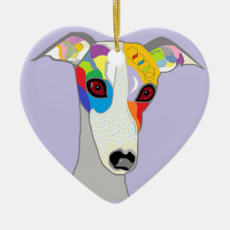 WHIPPET CERAMIC HEART DECORATION