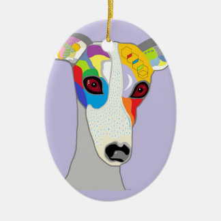 WHIPPET CERAMIC OVAL DECORATION