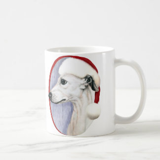 Whippet Christmas White Santa Coffee Mugs