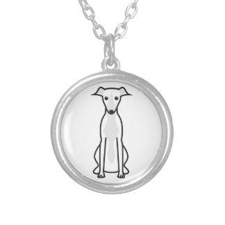 Whippet Dog Cartoon Round Pendant Necklace