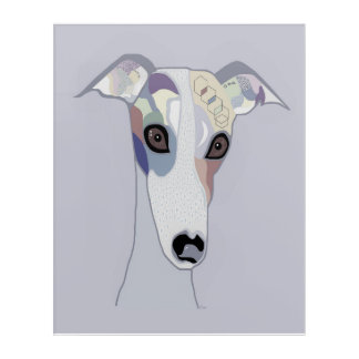 Whippet in Denim Colors Acrylic Wall Art